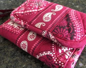 Vera Bradley Mesa Red Trifold Wallet- Preppy, Floral, Paisley, Fold out, Bandana