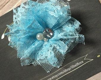 Blue Lace Hair Clip, Hair Barrette, Baby Infant Child Toddler Girl Hair Clip, Hair Flower, Clip On Flower, Flower Hair Clip