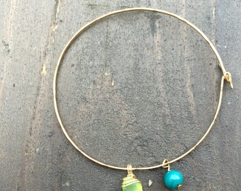 Sea Glass and Bead Bangle