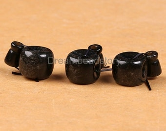 Natural Gold Obsidian Guru Beads, 12mm Tibetan Barrel Shape Guru Sets for Buddism Jewelry Making (P228)
