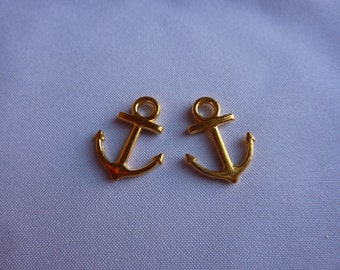 19mm Tiny Gold Anchor Charms (set of 2)