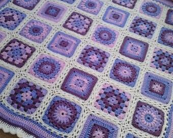 "Lavender Sunburst Granny Square Crochet Baby Blanket 35"" x 35"""