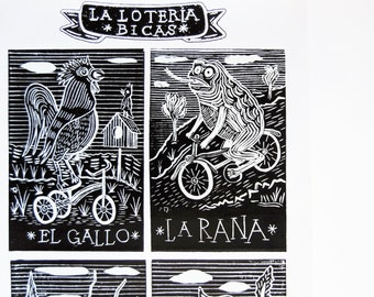 La Loteria BICAS - Bicycle Woodcut Screenprint Poster / Black and White