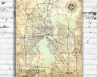 JACKSONVILLE FL Canvas Print Florida Fl Jacksonville Vintage map Florida Jacksonville wall Art Print City poster Vintage retro old large map