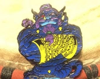 Blue Djinn hat pin