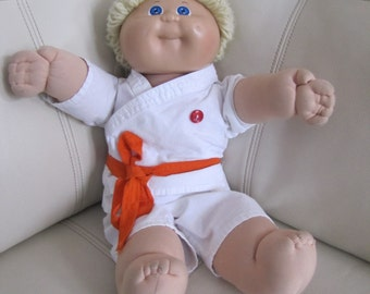 """Vintage Collectible 1985 Cabbage Patch Kids 16"""" Doll, Coleco, Collectible Doll with Karate suit"""