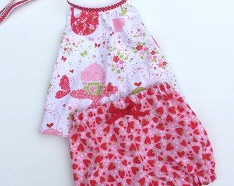 Baby Clothes Strawberry tea party Halter Neck Top, Baby Bloomer Shorties