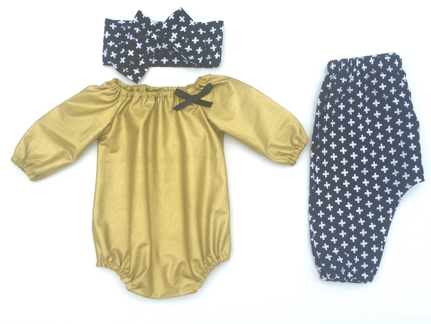 Baby Girl Clothes Gold Luxe Romper Harem Pants Head Wrap