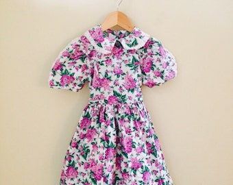 Vintage Girls Dress Size 6 Flower Print 100% Cotton and Made In The USA