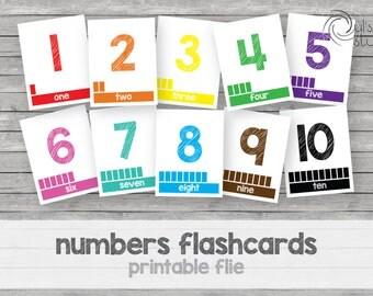 Printable kid's numbers flashcards 1 to 10, english