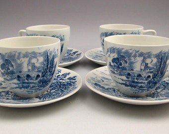 "SET OF 4 Wedgwood (Enoch) vintage ""Countryside"" blue-and-white transferware tea sets (cups w/matching saucers) w/English country scene. MINT"