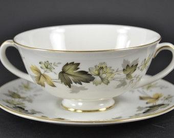 "Royal Doulton ""Larchmont"" double-handled cream soup bowls and saucers.  c. 1970s  MINT!!!"