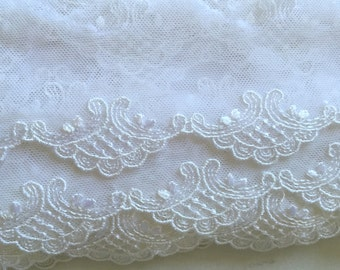 "2yds 2"" Wide White Scalloped Lace Trim