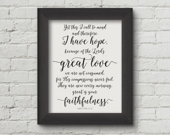 Great is Your faithfulness, Lamentations 3:21 printable, Christian wall art, Scripture printable - Digital Download