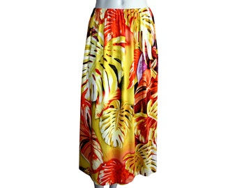 Rainforest Sunrise Midi Skirt With Pockets - Bohemian Pattered Skirt - Elastic Waist Skirt - Maternity Skirt - High Waist Skirt