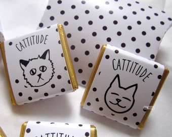 Personalised Chocolates CATTITUDE cats party favour birthday favour party favour Candy Bar