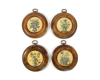 Vintage Set of 4 Round Wood Floral Wall Hangings, Wood Wall Hangings, Floral Decor, Floral Wall Hanging, Shabby Chic, Mid Century Modern