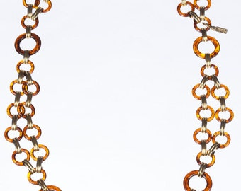 Circular Faux Tortoise Shell Chain Necklace