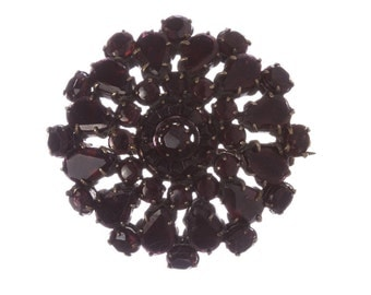 Georgian Flat Brass Bohemian Garnet Brooch Pin