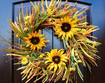 Fall Wreath~Sunflower Wreath~Thanksgiving wreath~harvest wreath~front door wreath~wreaths for door