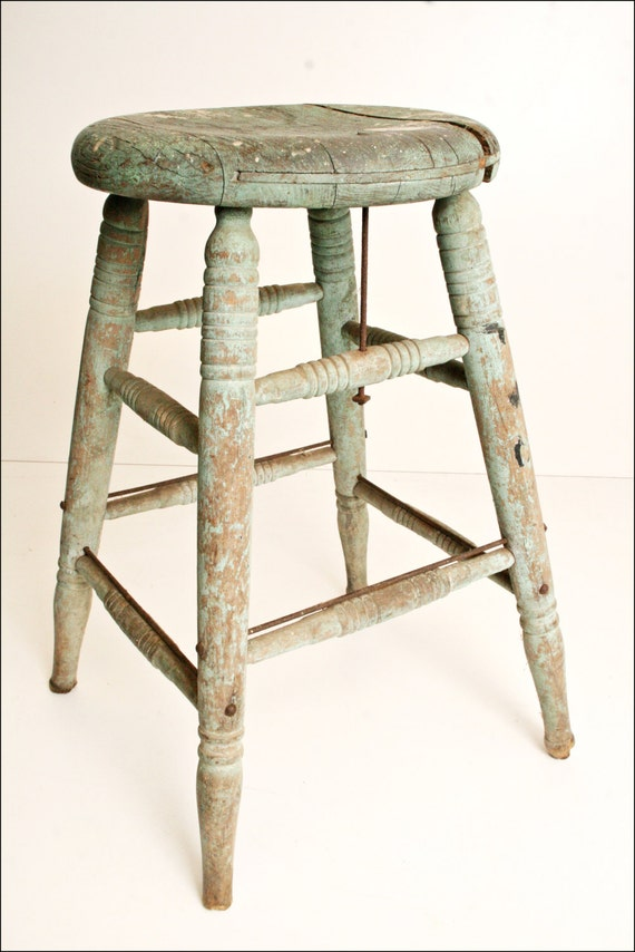 Vintage Wood Bar Stool Shabby Country Chic By