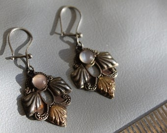 ON SALE vintage victorian silver and gold earrings