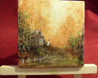 2  5/8 inch magnet back oil painting
