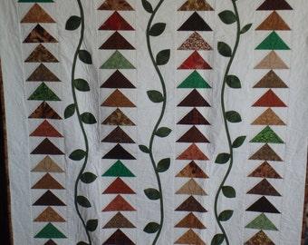 full size quilt, garden quilt, lap quilt, lap throw, single bed quilt, homemade quilt, brown quilt