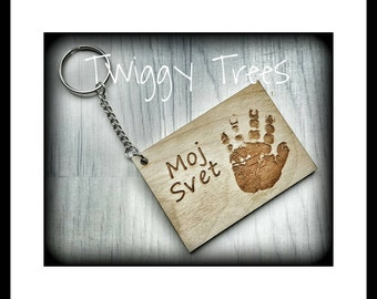 Personalised Rectangle  3 Print - Wooden Handprint Keyring, Hand Print key Ring, Children's Footprint, Child's Foot Print Key Fob, Dad gift