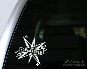 Adventurer Banner with Compass - Vinyl Sticker Vinyl Decal - Outdoor Recreation/Travel - Car Window Decal, Bumper Sticker, Laptop Decal