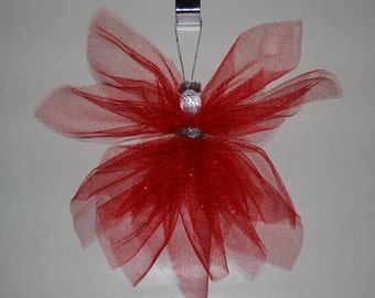 Angel ** Sparkling Red Tulle Angel ** Tree Ornament ** Wall/Window/Rear View Mirror Decoration ** Christmas Gift ** Spring ** Love Angel **