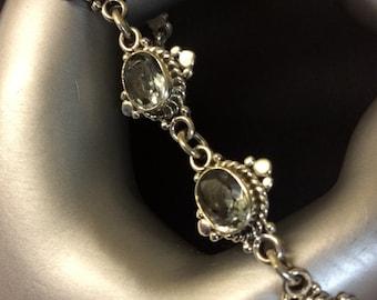 """Vintage Topaz and Sterling Silver Bracelet 8"""" Long"""