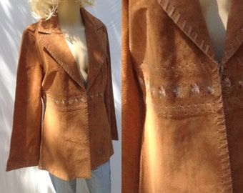 EMBROIDERED SUEDE Hippie,Blazer coat,brown leather size 8