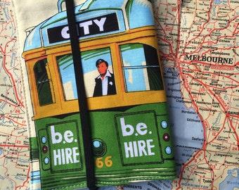 Melbourne Tram Passport cover, Melbourne Tram Passport holder, Melbourne souvenir passport cover, Passport cover, Handmade passport cover