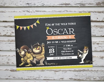 Where The Wild Things Are Birthday Invitation. Where The Wild Things Are Party Invitations. Where The Wild Things Are Invite DIY