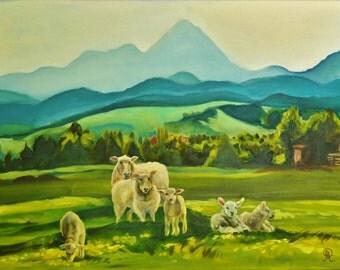 Lamb art , sheep painting , fine art landscape , mountain art , mountain fine art , mountain home decor , sheep canvas , ready to hang