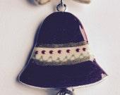 Christmas Bell Brooch, Red Green Christmas Pin, Enamel Xmas Brooch