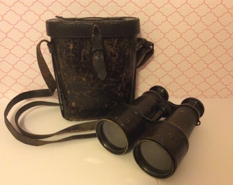 Pair 19th Century U.S. Signal Service Binoculars and leather case
