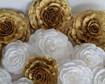 Gold white giant large paper flowers photo backdrop party bridal kate shower spade baby wedding gatsby chanele Nursery wall Communion sweet