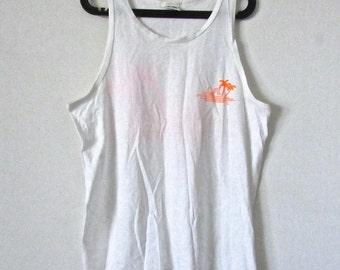 Vintage L.A. GEAR White & Neon Orange Beach Tank Top Size M