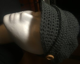 Newsboy Crochet Hat-black and gray