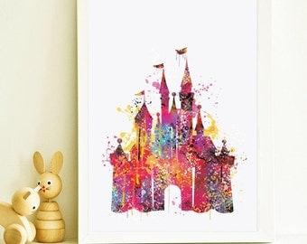 Disney Castle Watercolor Print, Disney Nursery art, Disney Art Print, Disney Castle Print , Watercolor Art Painting, Disney Castle Art,ET31