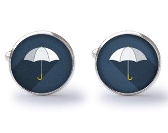 White Umbrella Cufflinks - Umbrella Cuff Links - Rainy Day Cufflinks - Wedding Gift For Him (Pair) Lifetime Guarantee (S0533)