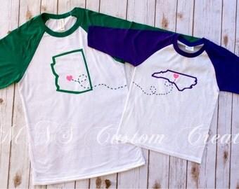 Long Distance BFF Raglans, Best Friend Shirts