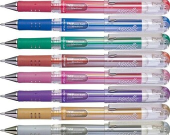 Pentel Arts Hybird Gel grip Metallic Pen 1.0 mm assorted colors Made in Japan