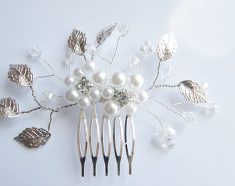 Bridal Hair Comb Wedding Hair Comb Bridal Hair Accessory Ivory White Pearl Comb Wedding headpiece Rhinestone Hair Comb