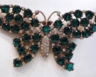 Vintage Green Butterfly Brooch