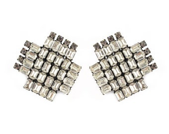French Vintage cross shaped crystal clip-on earrings c. 1950's