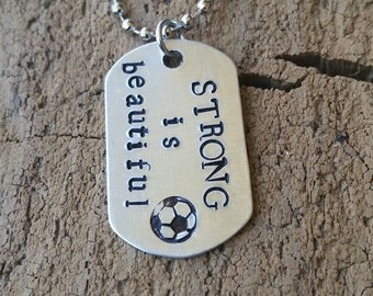 Dog tag.   Soccer,  sports and all things fun.  Dog tag necklace.