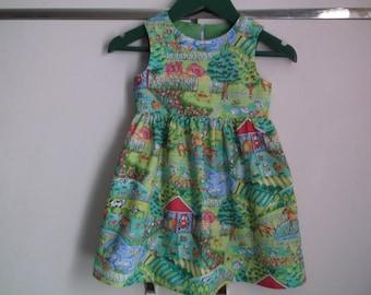Farmyard pattern dress